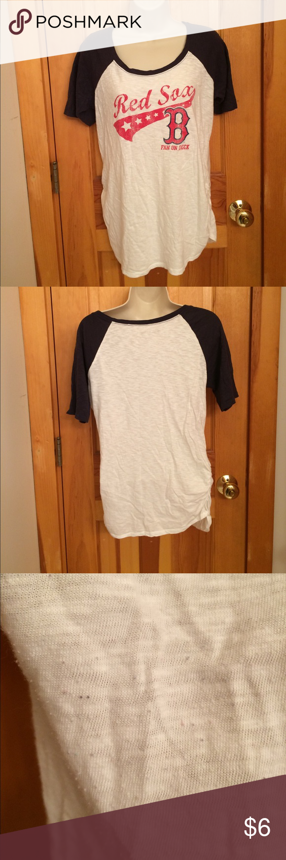 Red Sox maternity top In good condition. Only a little piling as shown in pictures. And a tiny pen mark also shown in picture. Motherhood Maternity Tops Tees - Short Sleeve