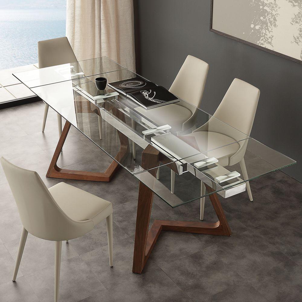 Tavolo allungabile di design con piano in cristallo iside - Tavolo cristallo design ...