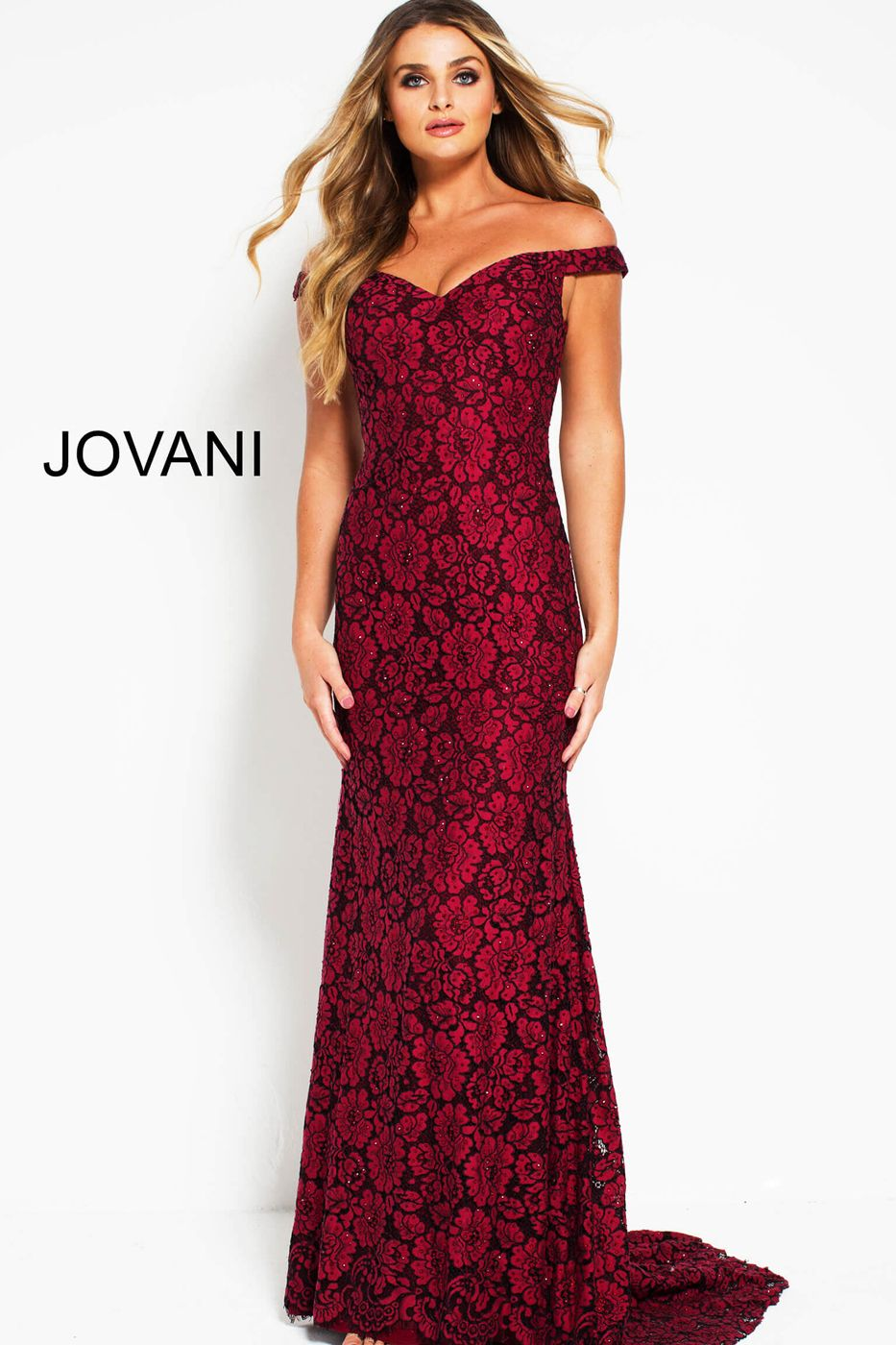 a1be8c5519e5d6 This Jovani 53208 burgundy evening gown features a column silhouette in  beaded floral lace, with an off-the-shoulder sweetheart neckline and court  train.