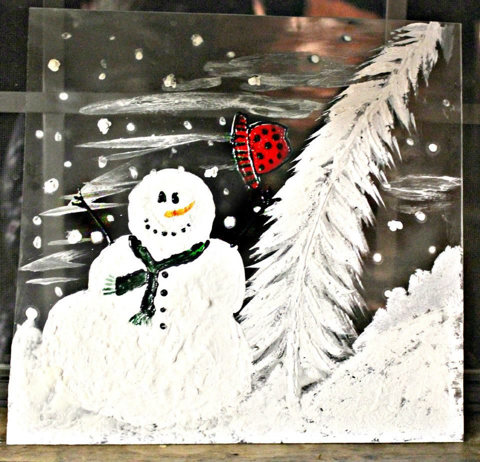 Wind blown snowman and tree...etched and painted into a glass pane for decor...diplay flat on a desk or on an easel.