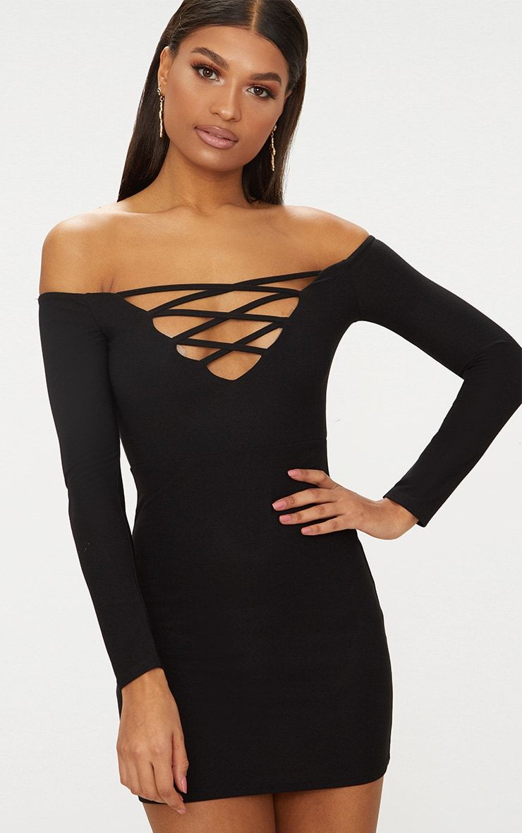 Black Lace Up Bardot Bodycon Dress Pretty Little Thing NWFJV
