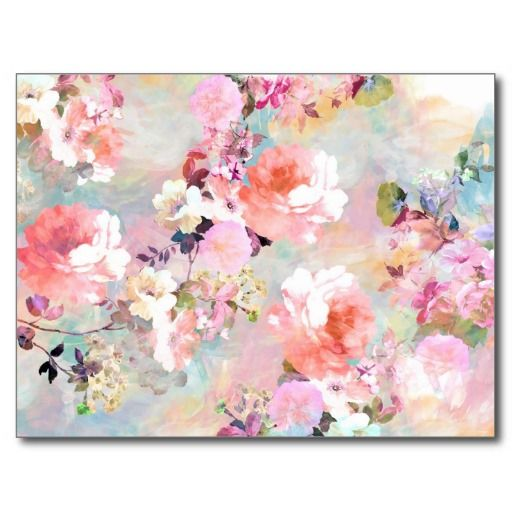 Romantic Pink Teal Watercolor Chic Floral Pattern Post Cards