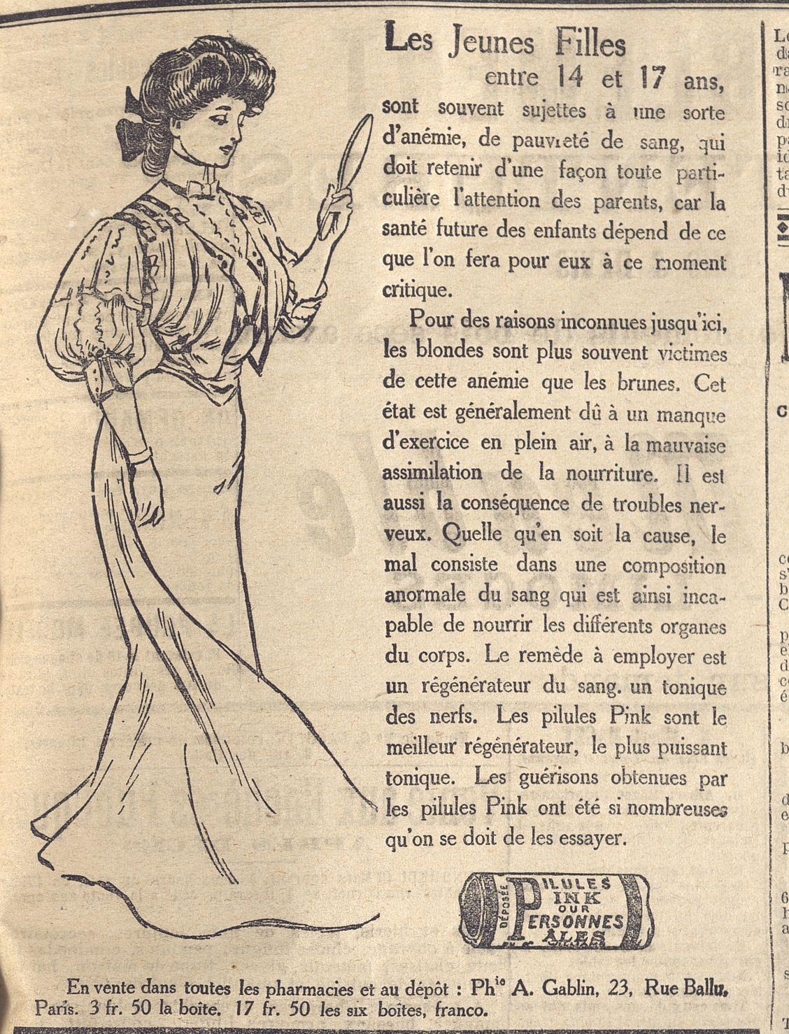 Les Jeunes Filles Entre 14 Et 1e Ans Et Les Pillules Pink Gazette Du Centre 1908 Bfm Limoges Gazette Xixe Siecle Limoges