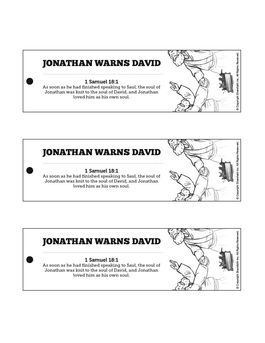 1 Samuel 20 David And Jonathan Bible Bookmarks The Friendship Of