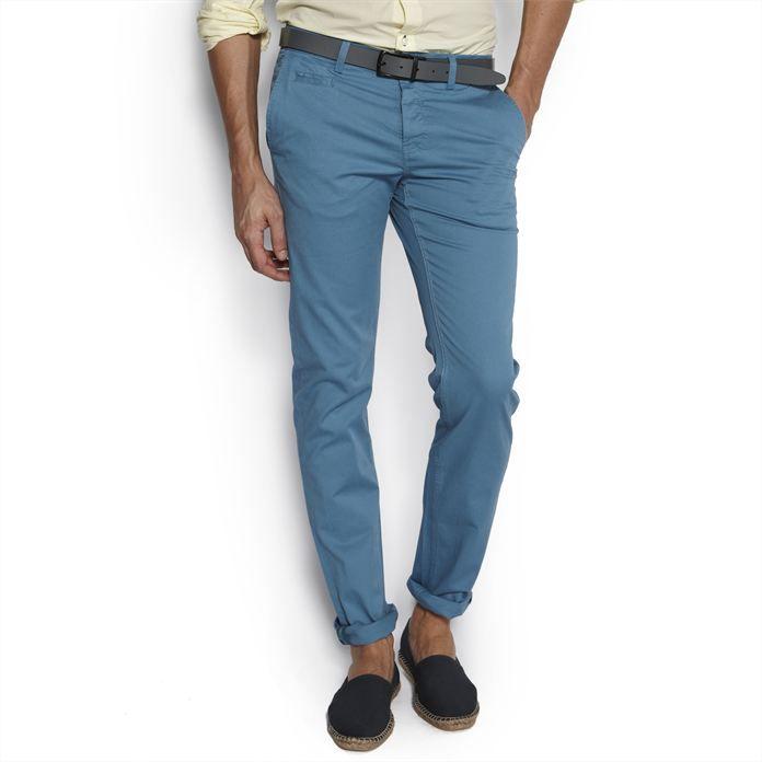 Chino straight Bleu Moyen homme – la mode