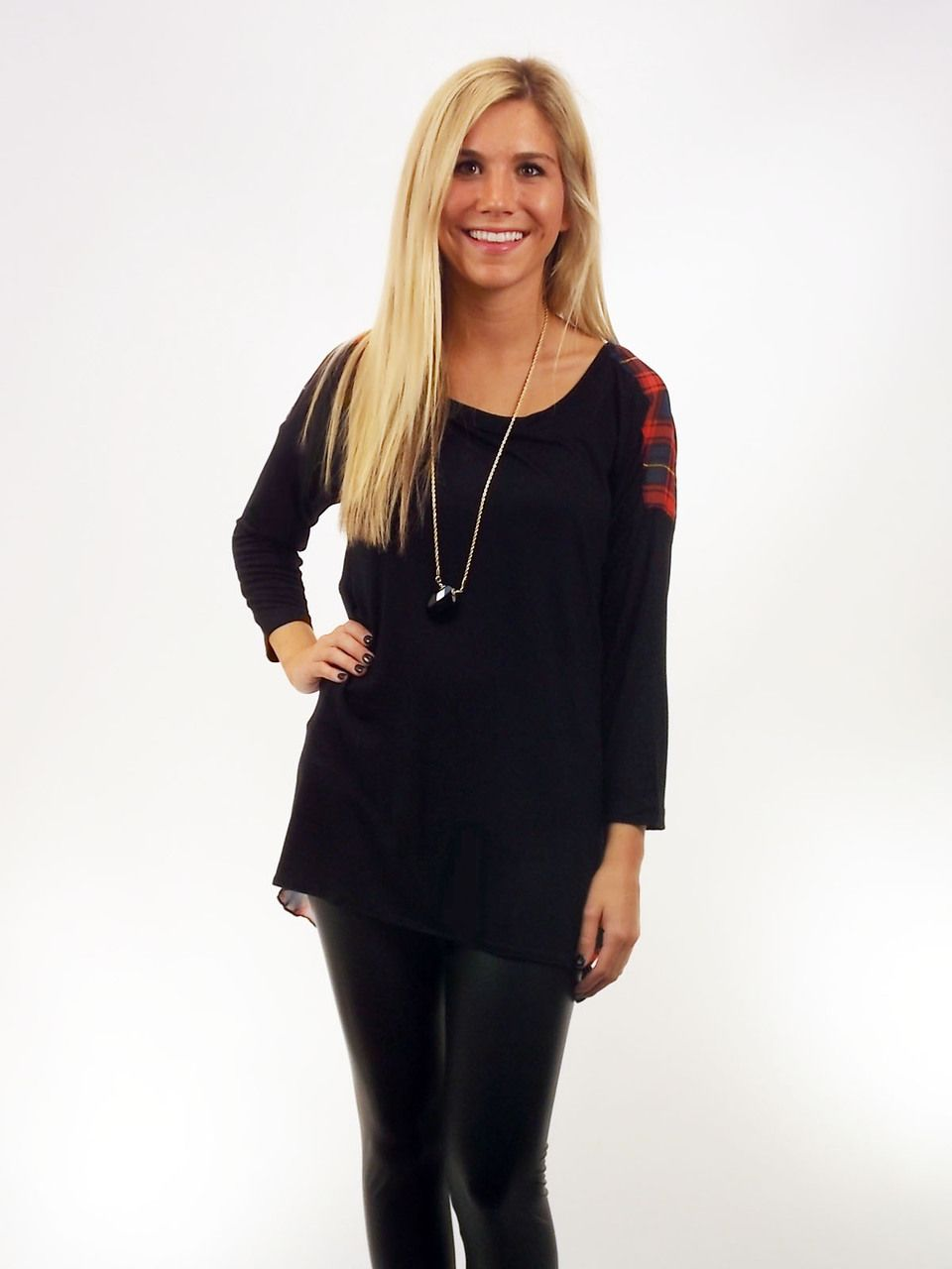 Black & Red Plaid Top with Long Sleeves and Sheer Plaid on Backside