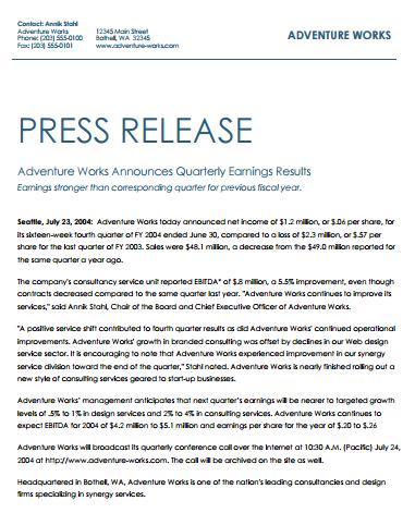 Press Release Template 1641 Press Release Template Press Release Example Press Release