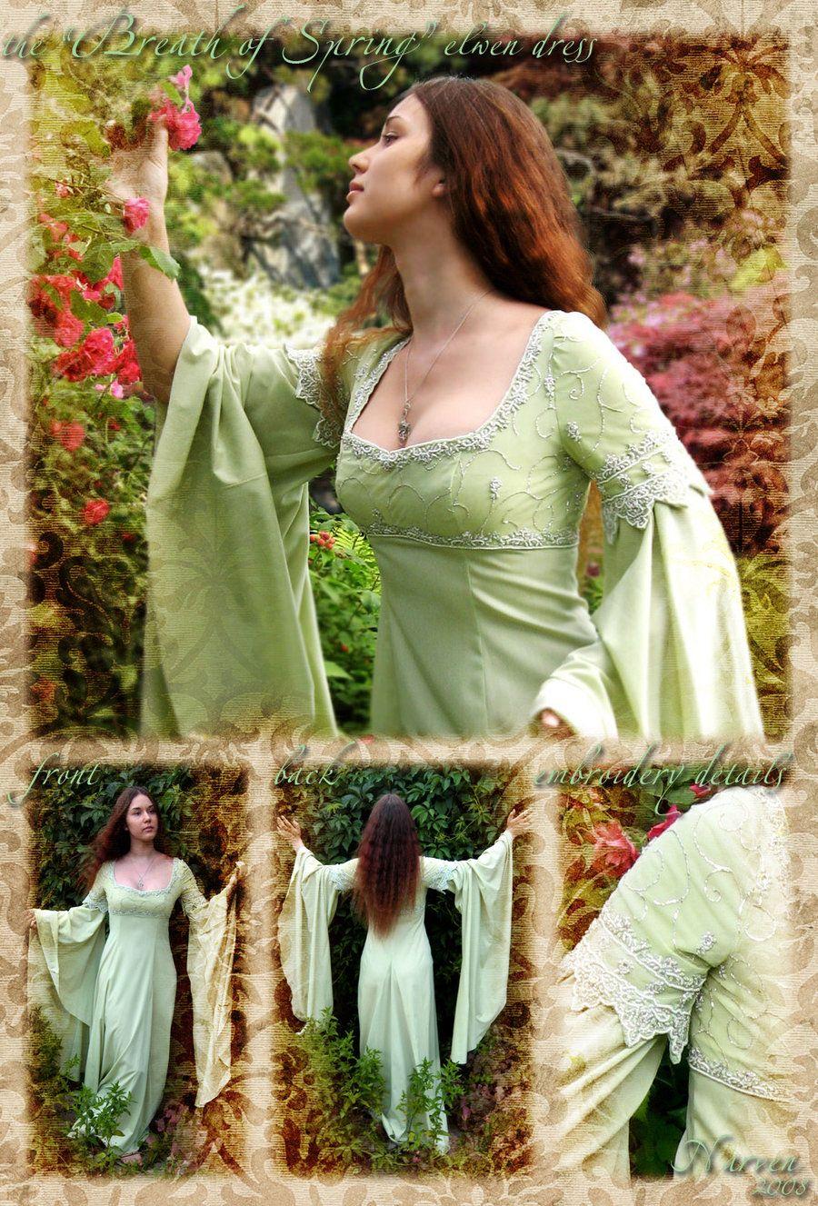 """""""Breath of Spring"""" elven dress by ladynarven.deviantart"""