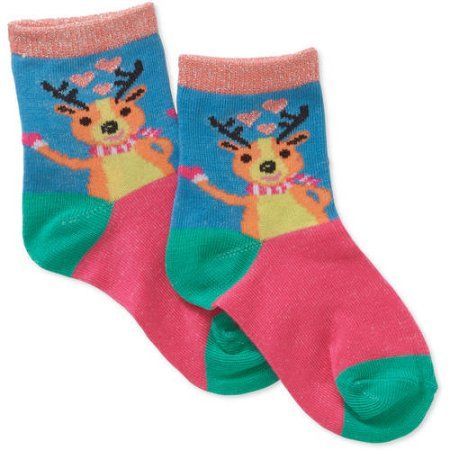 Girls' 7Pk Crew Sock Artic Animal, Size: Large, Multicolor