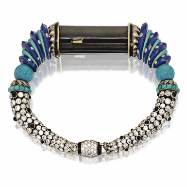 Egyptian-Style Lapis Lazuli, Turquoise, diamond, black onyx and enamel bracelet, Cartier, Paris, 1929, Made by Special Order for Mrs. Cole Porter