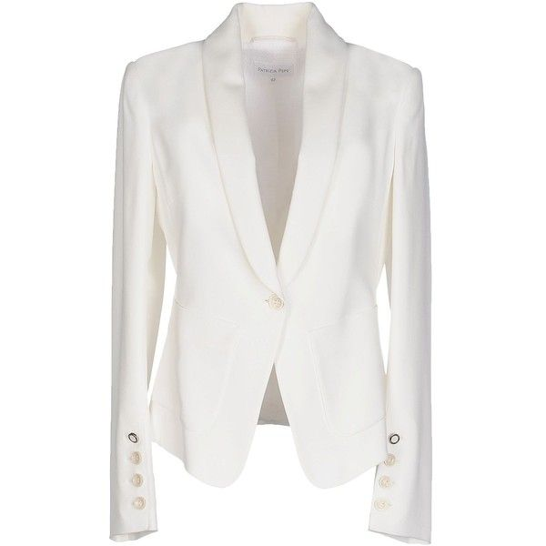 Patrizia Pepe Blazer ($135) ❤ liked on Polyvore featuring outerwear, jackets, blazers, white, white blazer jacket, single button blazer, long sleeve jacket, one button blazer and multi pocket jacket