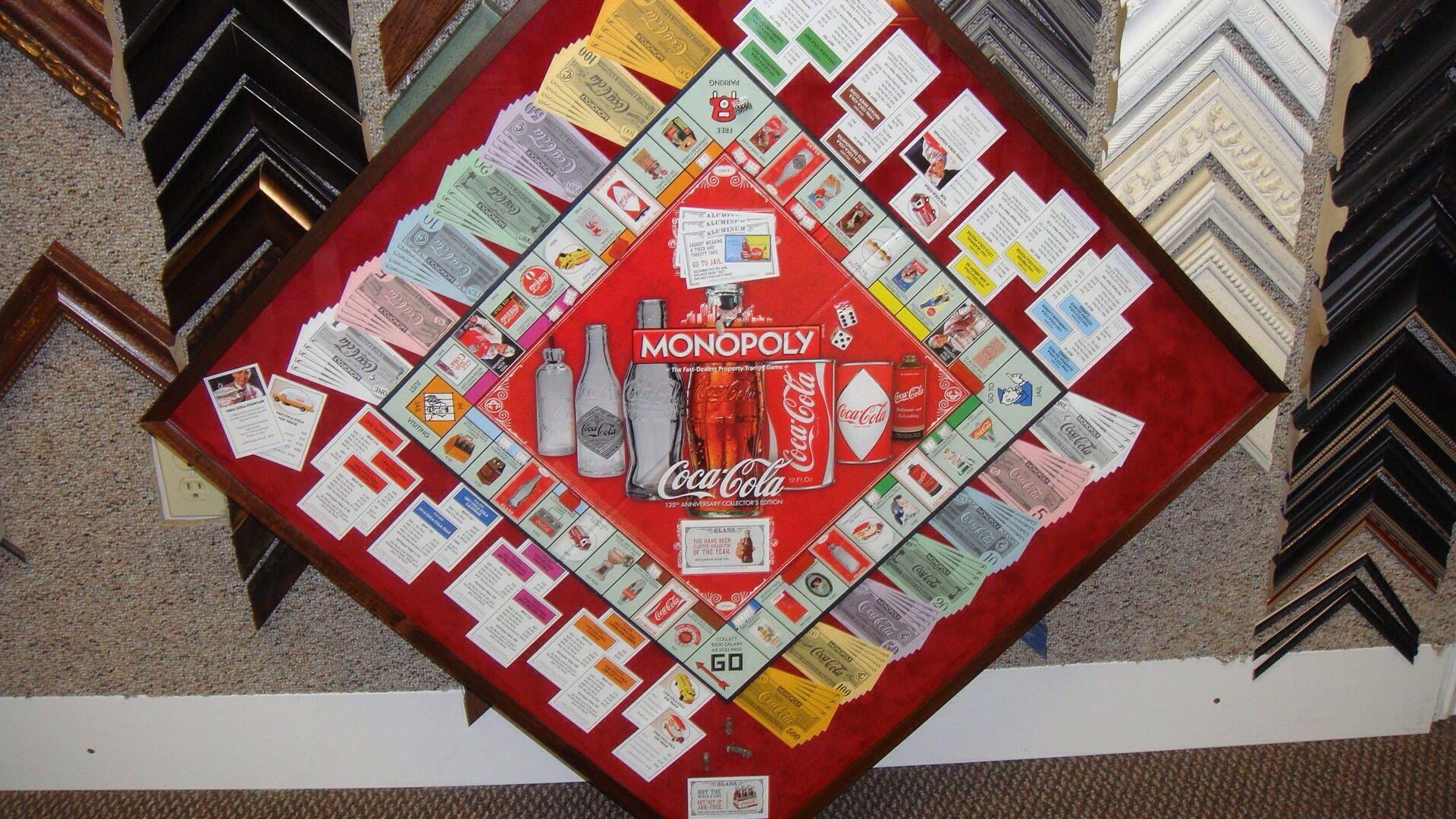 Coca cola monopoly board custom framed at Amy\'s Village Frame Shop ...