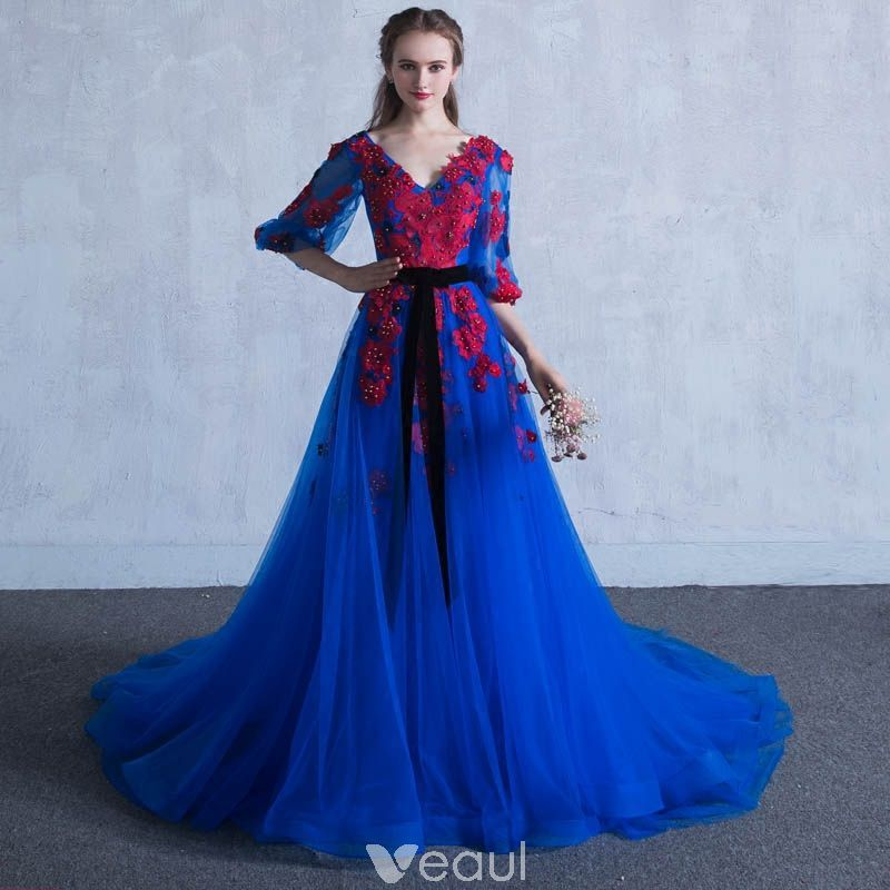 c04a111c07c Chic   Beautiful Royal Blue Prom Dresses 2018 A-Line   Princess V-Neck 3 4  Sleeve Appliques Flower Pearl Sash Chapel Train Ruffle Backless Formal  Dresses