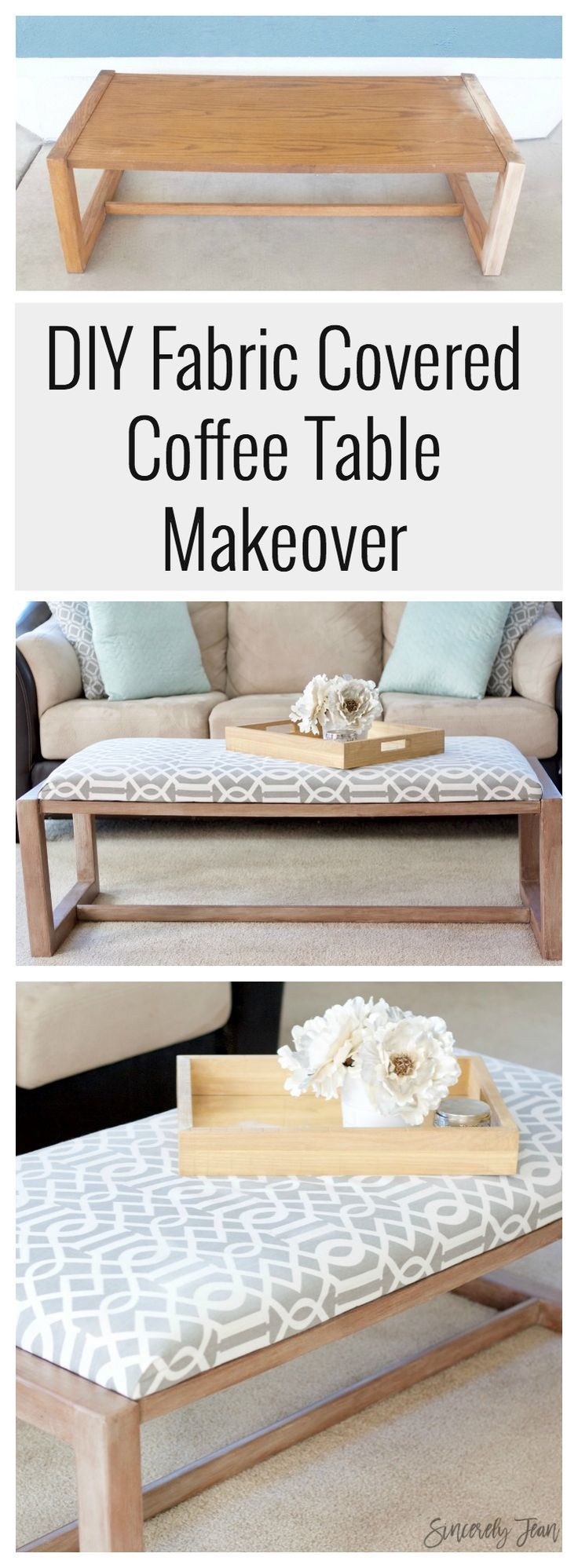 Diy Fabric Covered Coffee Table Makeover Ottoman