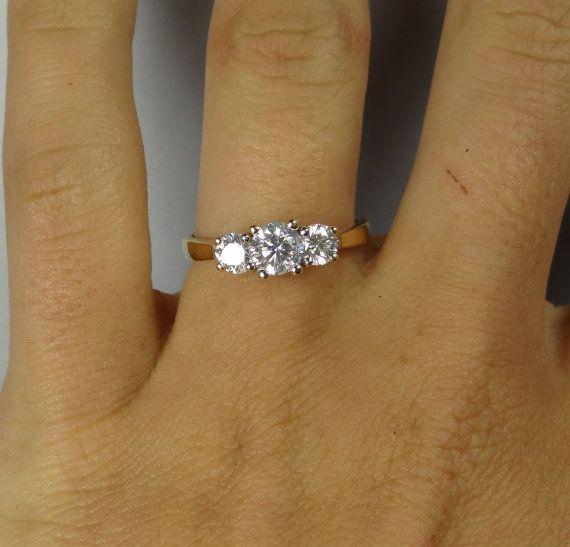Classic Simple Yellow Gold Vintage Three Stone Diamond Engagement