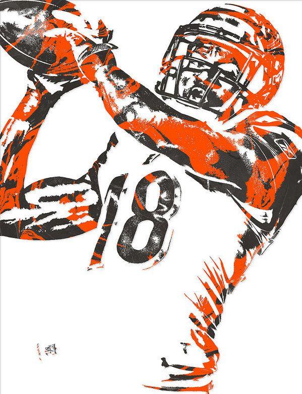 A J Green Cincinnati Bengals Pixel Art 1 Art Print By Joe Hamilton Cincinnati Bengals Bengals Pixel Art