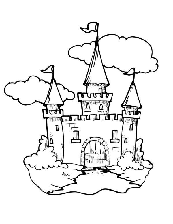 Medieval Castle Front Gate Coloring Page Kids Play Color Castle Coloring Page Coloring Pages Star Coloring Pages
