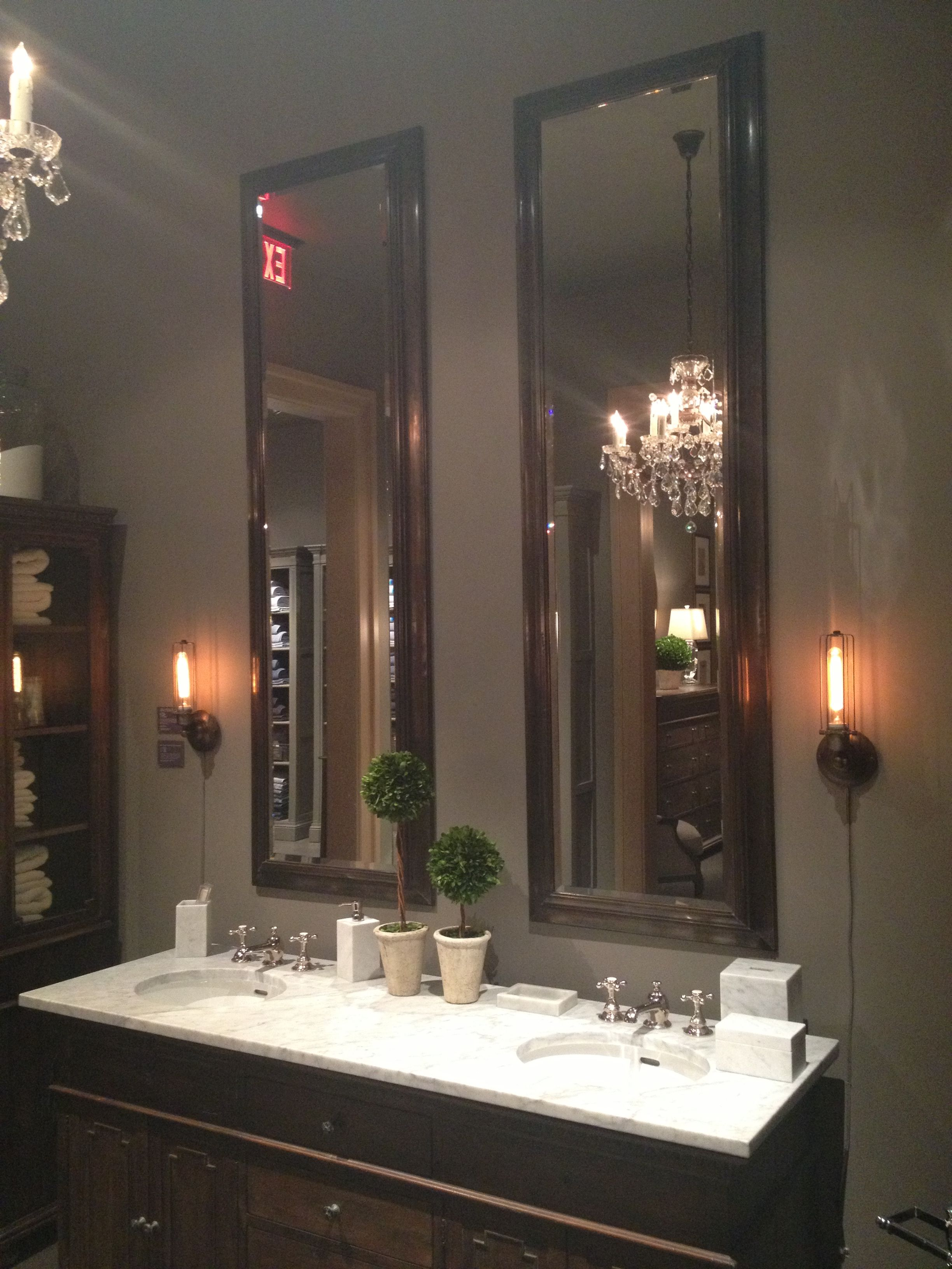 Tall Mirrors For Bathroom Restoration Hardware This Is The Look For My Master Bath With 10 Bathroom Mirror Trends Bathroom Mirror Restoration Hardware Vanity