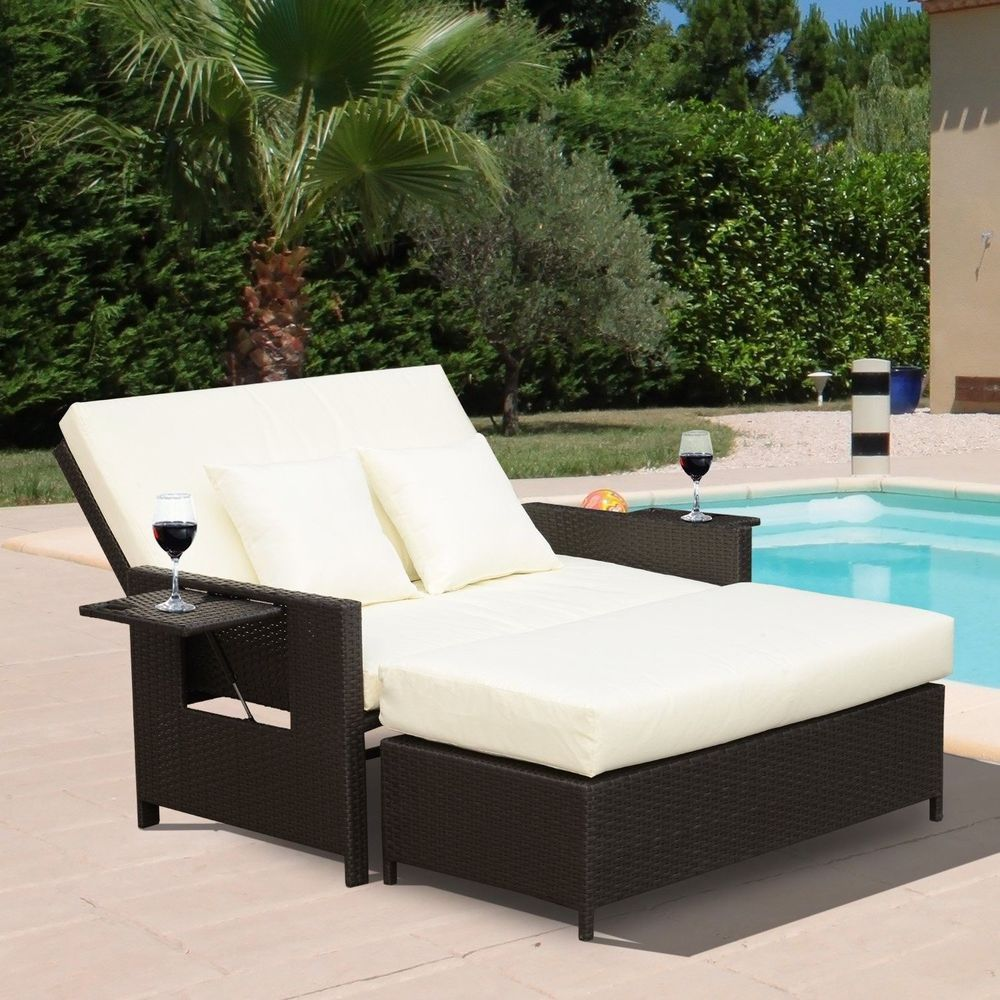 2 Piece Outdoor Rattan Chaise Lounge Ottoman Set Brown Steel Frame Furniture 2pieceoutdoor Lounge Chair Outdoor Wicker Chaise Lounge Outdoor Pool Furniture