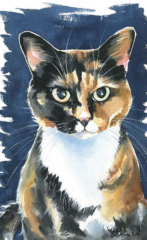 Poppy Calico Cat Painting Art Print by Dora Hathazi Mendes