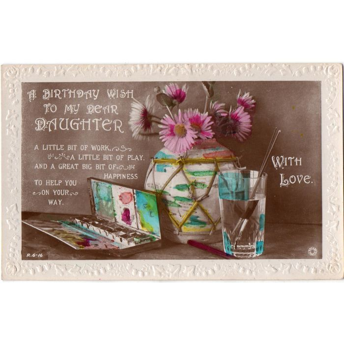 Rotary Song Postcard Vase Asters A Birthday Wish To My