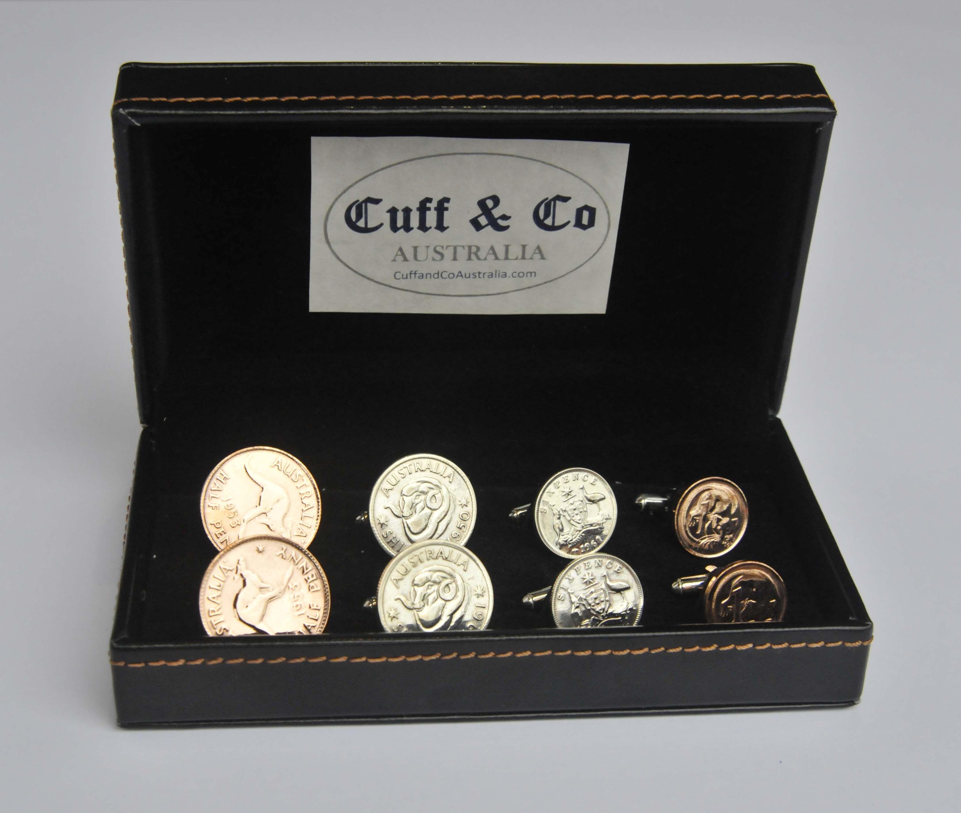 Australian Coin Cufflinks 4 Pair Set Corporate gifts