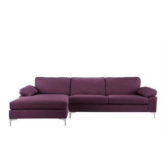 Modern Large Linen Sectional Sofa L Shape Couch Wide Chaise