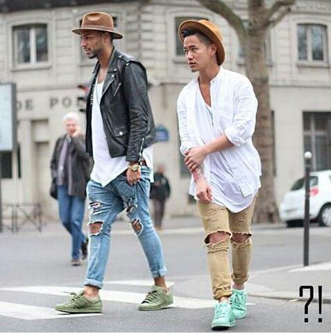 Men street style. Adidas originals superstar White. Black. Fedora hat. Knee  ripped 97af1ab0b1c