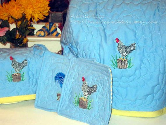 Rooster Kitchen Cover Embroidered and Quilted Trio by FreckleDots, $75.00