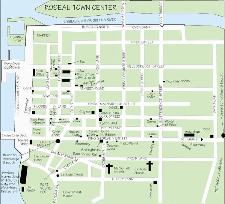 Roseau Dominica centre map The Caribbean Pinterest Centre