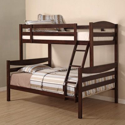 W Trends Twin Full Size Solid Wood Bunk Bed Walnut Brown