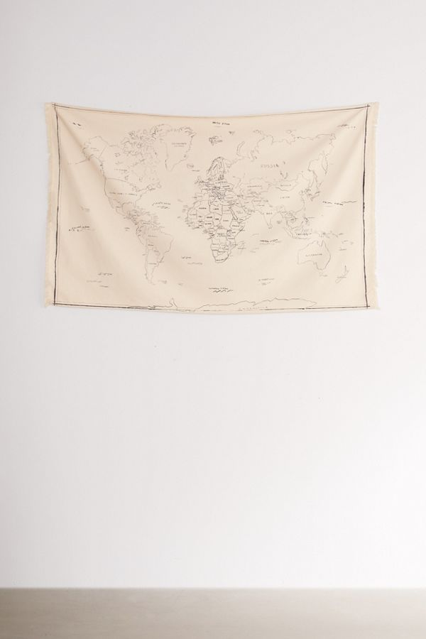 Urban Outfitters Hand Drawn World Map Tapestry World Map
