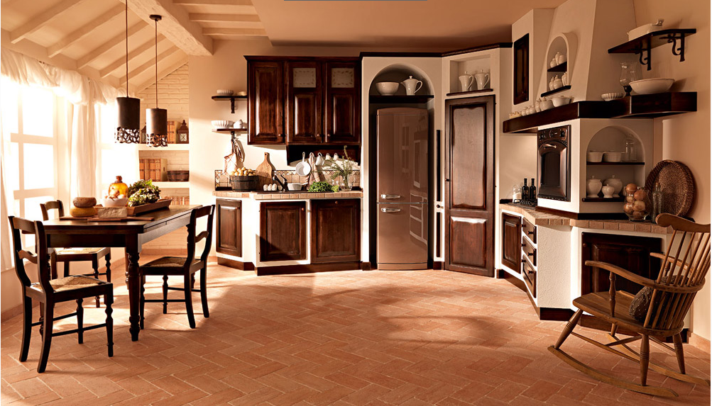 Cucina legno scuro con sedia a dondolo arredamento shabby