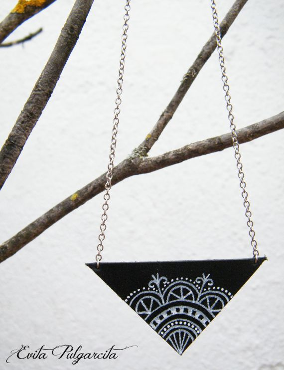 Leather necklace hand painted, original design, nature inspired jewelry, Evita Pulgarcita