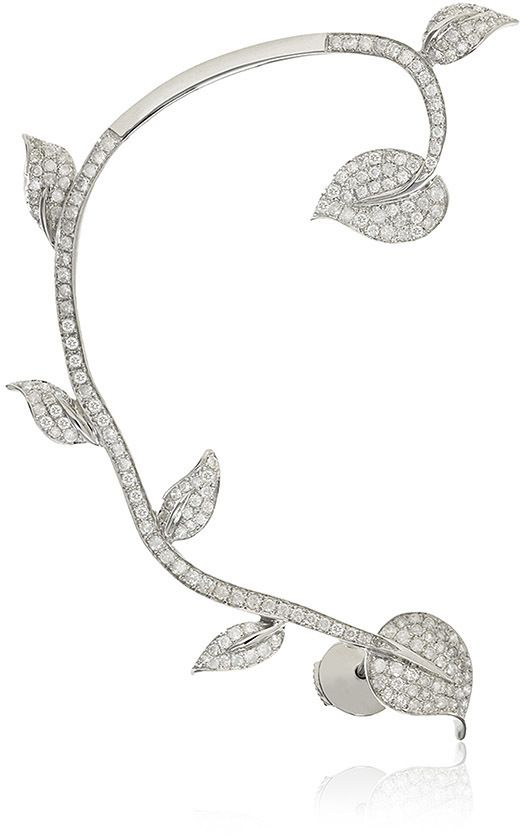 Elise Dray Overall Leaves Earcuff - An ode to femininity, this ear-jacket by Elise Dray features a branch construction embellished with diamond encrusted leaves throughout.