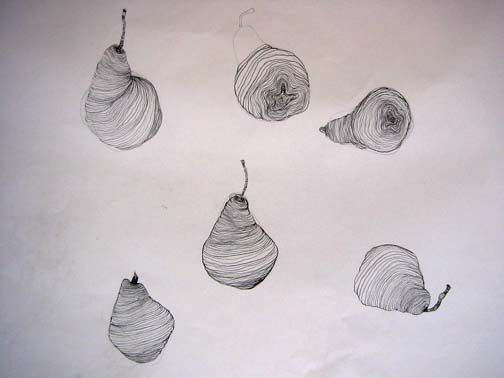 Simple Continuous Line Art : Basic drawing 1: bananas & pears contour hands objects pinterest