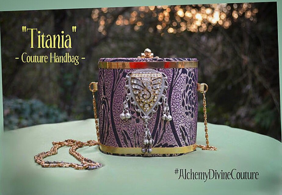 """Box clutch Purse, featuring Vintage rhinestones in Gold Filigree, Silver lavalier tassels, purple and gold facbric, with a vintage gold shoulder strap chain. """"Titania"""" Goddess. By #AlchemyDivineCouture  https://www.etsy.com/listing/242878918/rhinestone-boxclutch-handbag-purple-gold"""