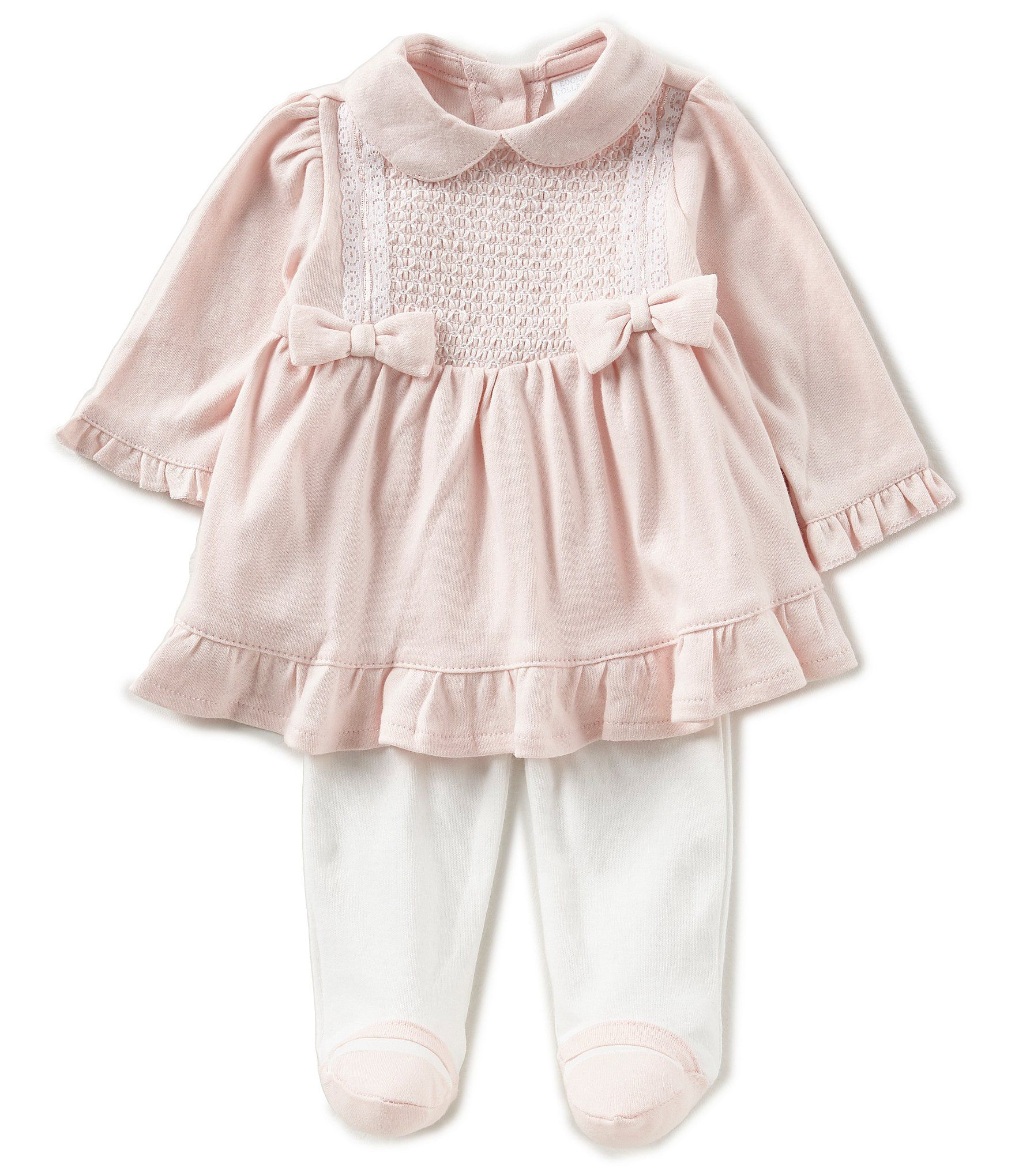 Edgehill Collection Baby Girls Newborn 6 Months Bow Pleated Dress