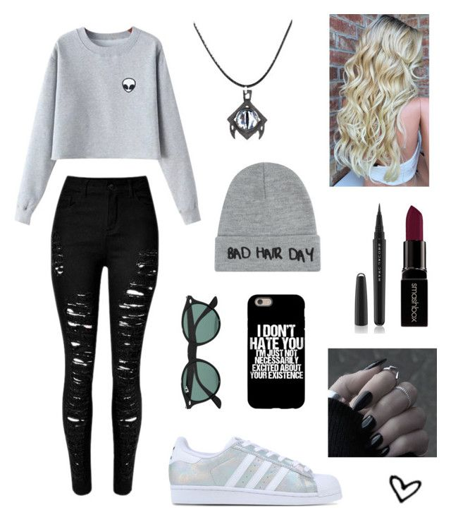 """""""Untitled #17"""" by brunasousa9 ❤ liked on Polyvore featuring Chicnova Fashion, Smashbox, Marc Jacobs, adidas Originals, Local Heroes and Ray-Ban"""