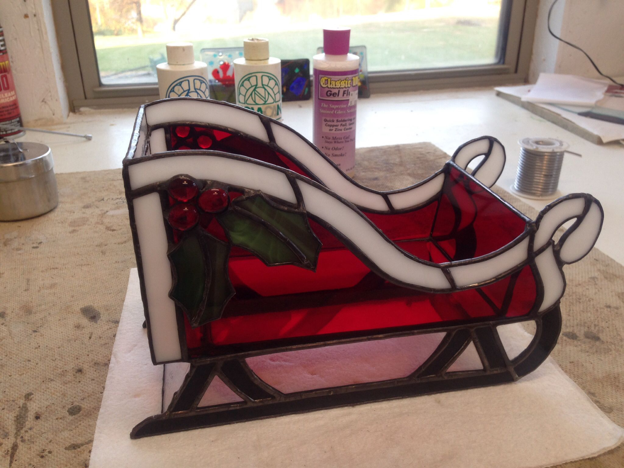 Christmas Sleigh Stained Glass Project Good For Holding Your Christmas