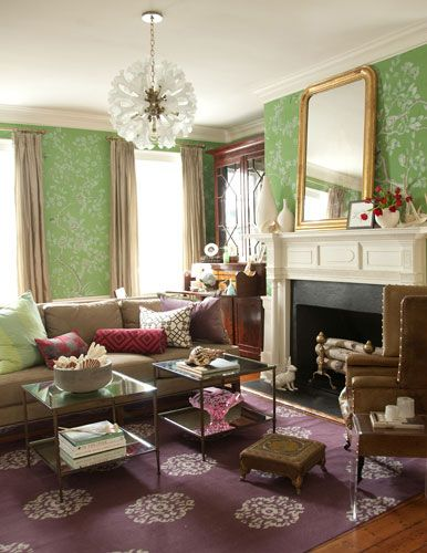 Living Room Interiors Green Gold Pink Dhurrie Wallpaper Mirrors