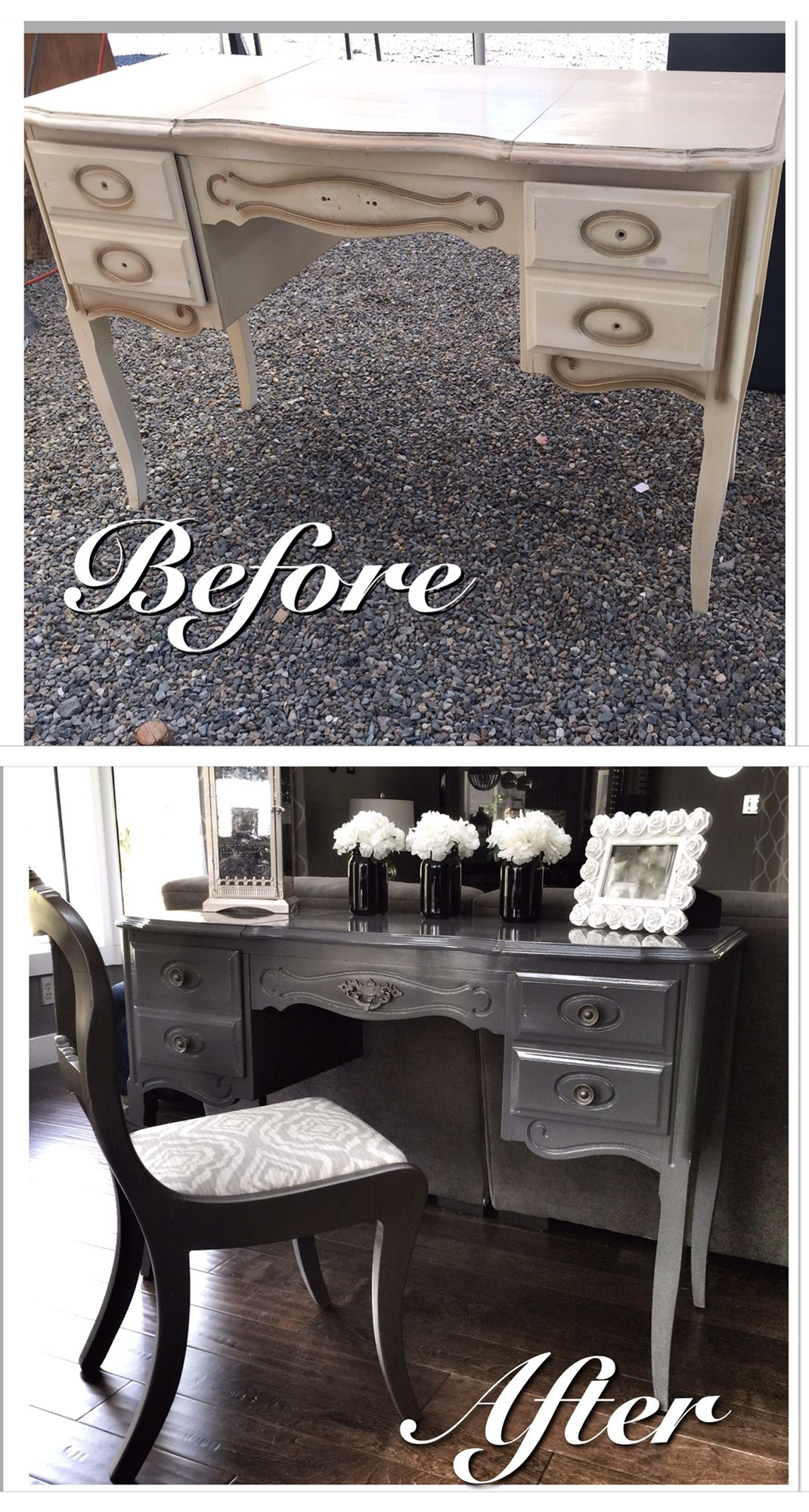 French Provincial Flip Vanity Paired With Super Cute