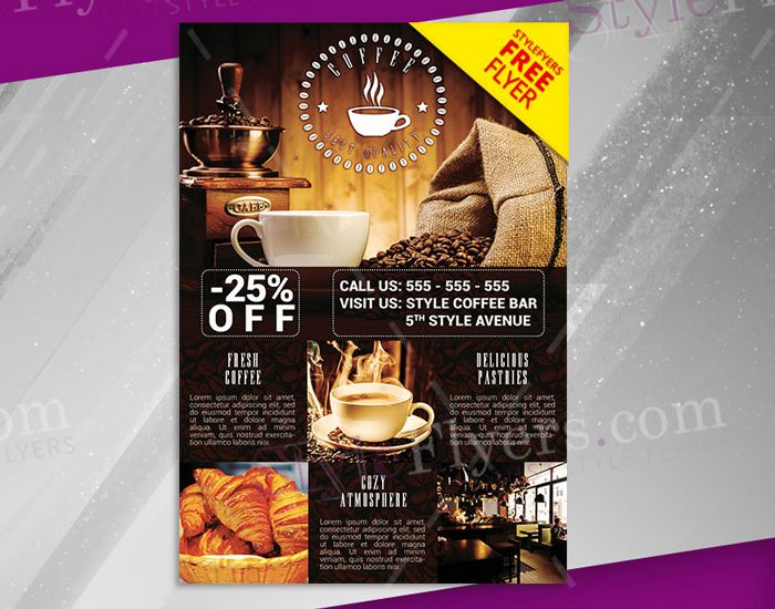 Free-PSD-Coffee-Shop-Flyer Flyer Templates Pinterest Flyer - coffee shop brochure template