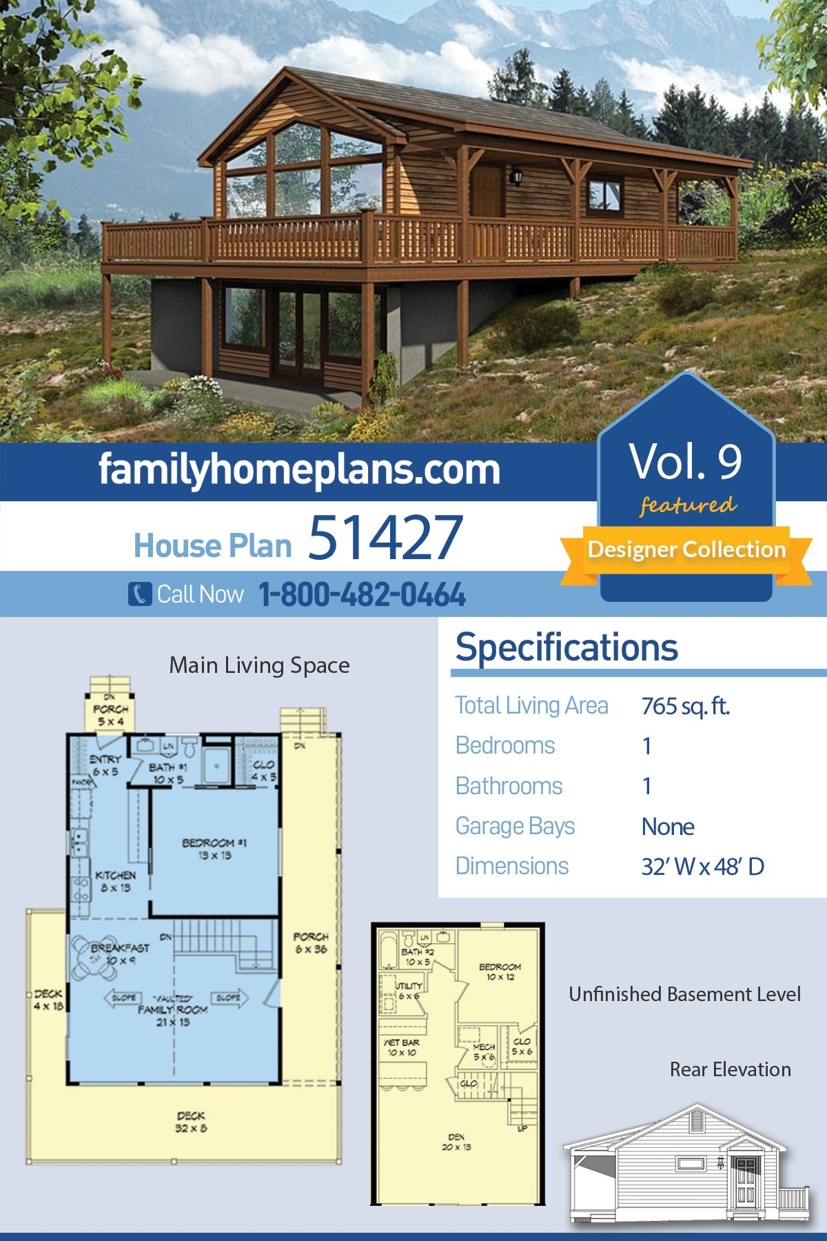 Country Style House Plan 51427 With 1 Bed 1 Bath Country Style House Plans Lake House Plans House Plans