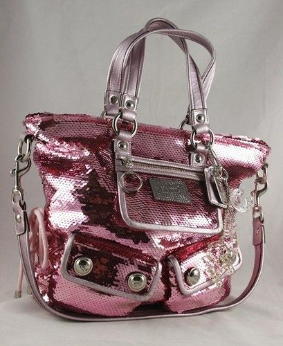 COACH Poppy  Pink  Sequin Spotlight Bag 13821 ~Ltd. Ed.~  896437fbebbf1