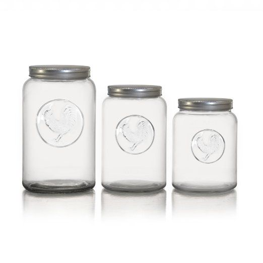 Style Setter Rooster Canisters with Lids (Set of 3), Clear