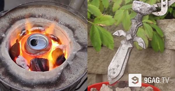 make a mini forge and turn soda cans into aluminum ingots for metal