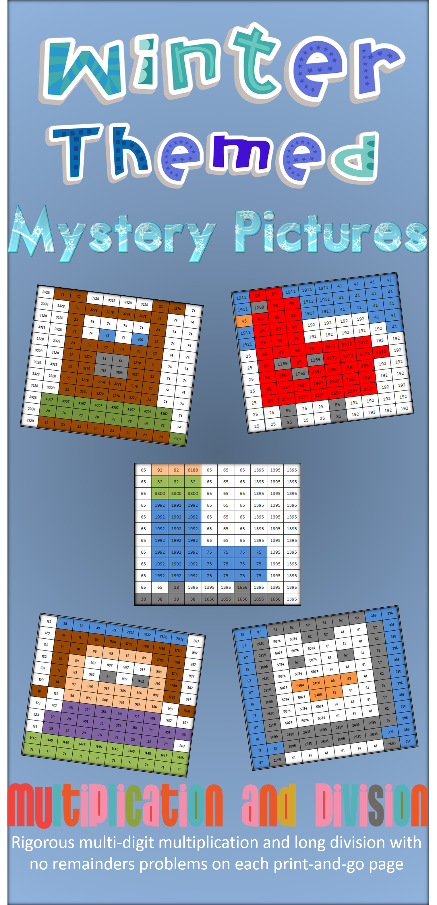 Winter Multiplication and Division Review Mystery Pictures ...