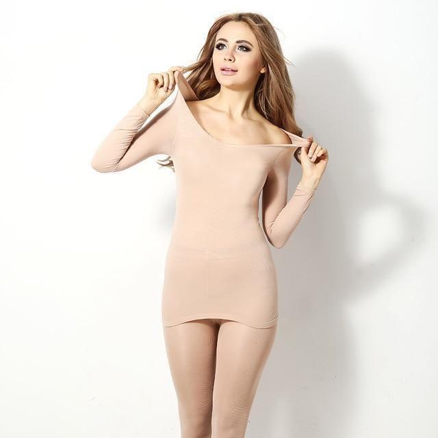 ad8f7995b90 Women s long John Set Solid Color Slim Elastic Plus Size Winter Warm  Sleepwear Set. Seamless Thermal Innerwear Set