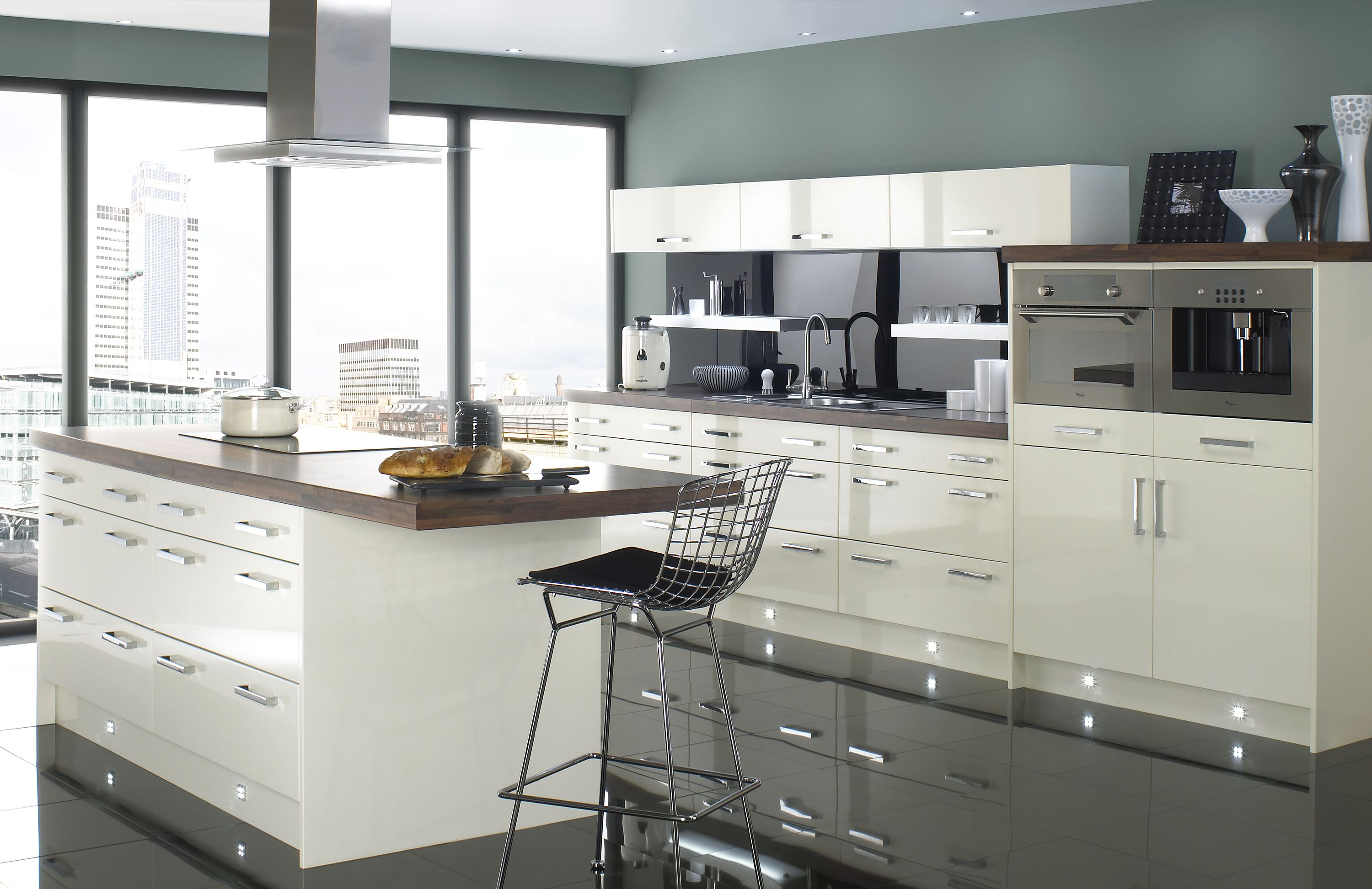 Luxury ivory gloss kitchen and galley style central island, designed ...